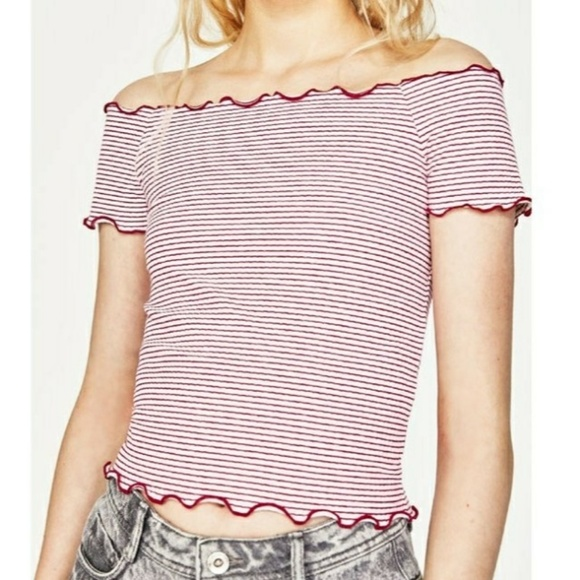 f6001344a63a88 ZARA OFF SHOULDER RIBBED RED WHITE STRIPED TOP NWT